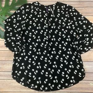 NYDJ black and white cherry print popover top